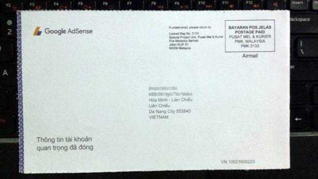 bì thư chứa mã PIN Google Adsense