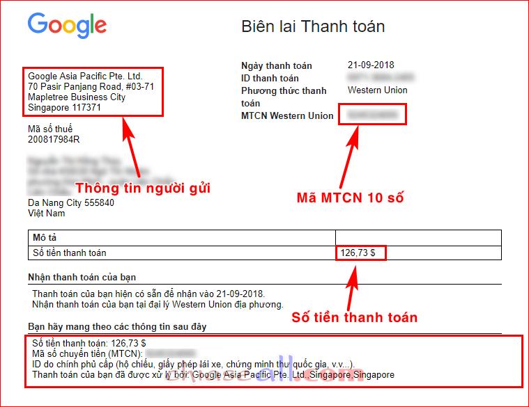 cách nhận tiền từ Google Adsense qua western union