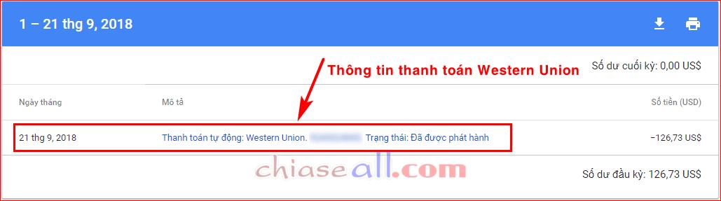 nhận tiền google adsense bằng westernunion