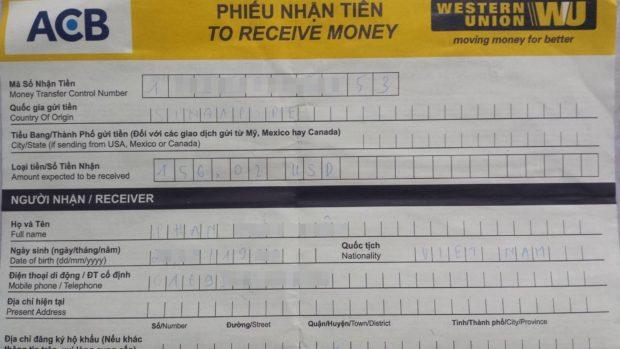 Cách điền Phiếu nhận tiền Western Union