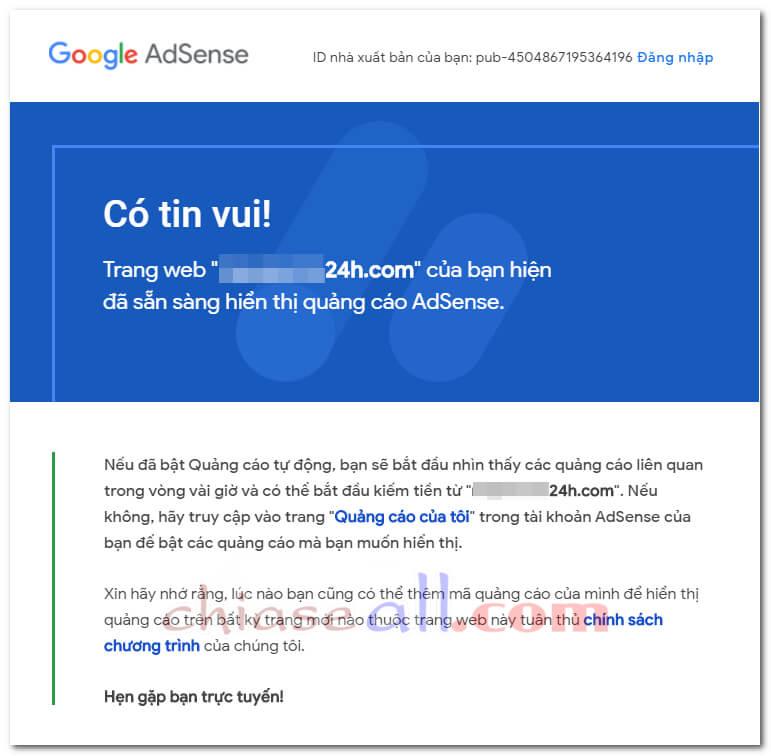 trang web san sang hien thi quang cao google adsense