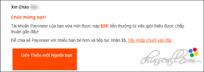 receive 25 dolar from payoneer