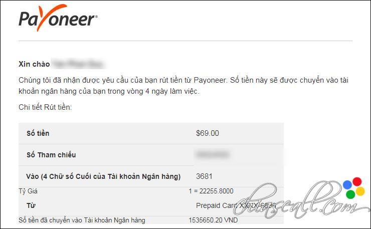 Email rút tiền Payoneer về ngân hàng