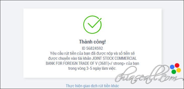 Rút tiền từ Payoneer về Vietcombank thành công