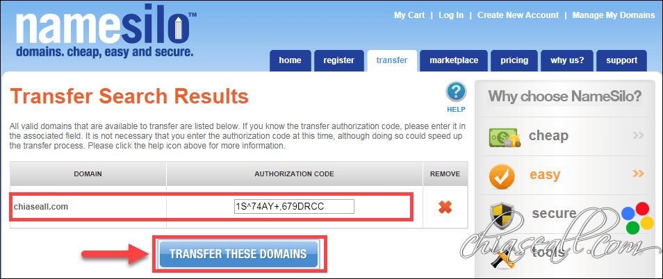 transfer domain from godaddy to namesilo 2