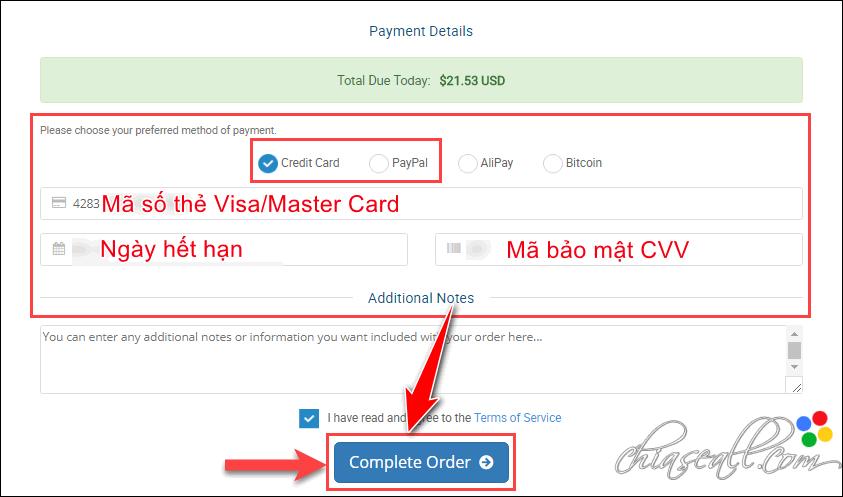 thanh toán Hawkhost bằng Paypal