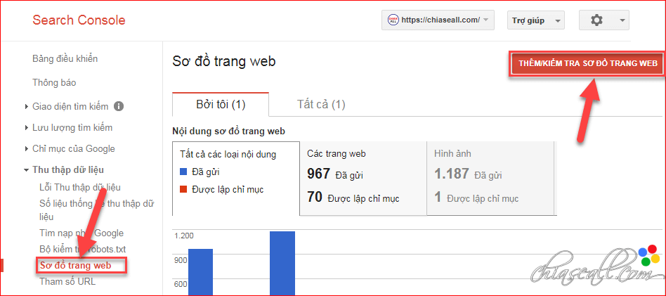 thêm sitemap https google search console