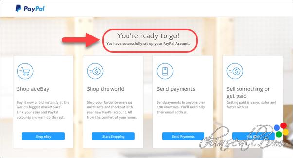 Hoàn tất đăng ký tài khoản Paypal