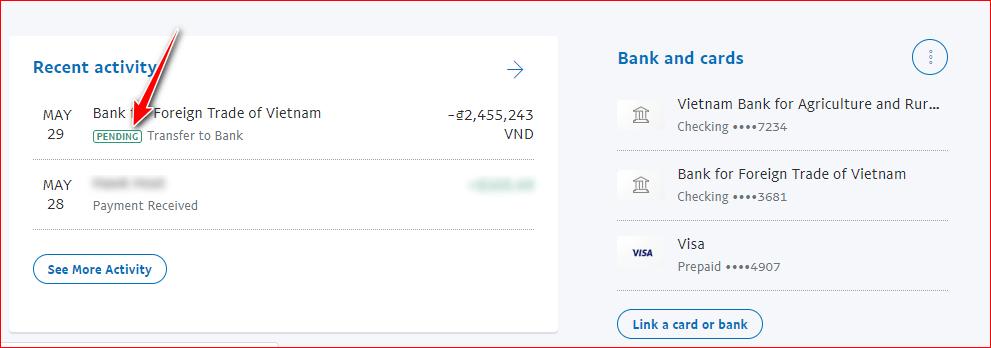 rút tiền paypal bị pending