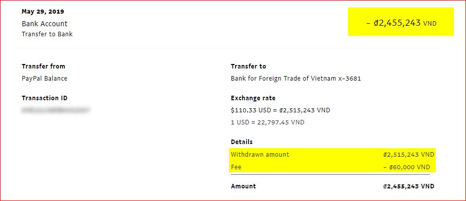 biên lai rút tiền paypal
