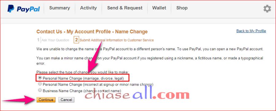 sửa tên tài khoản paypal