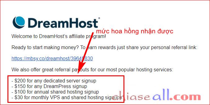 hoa hồng dreamhost affiliate