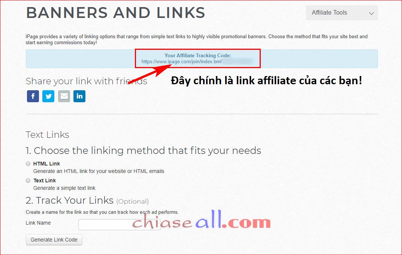 ipage affiliate tiep thi lien ket