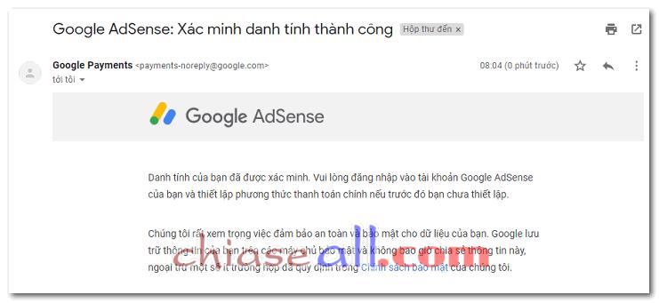 Xác minh danh tính Google Adsense 2020 thành công