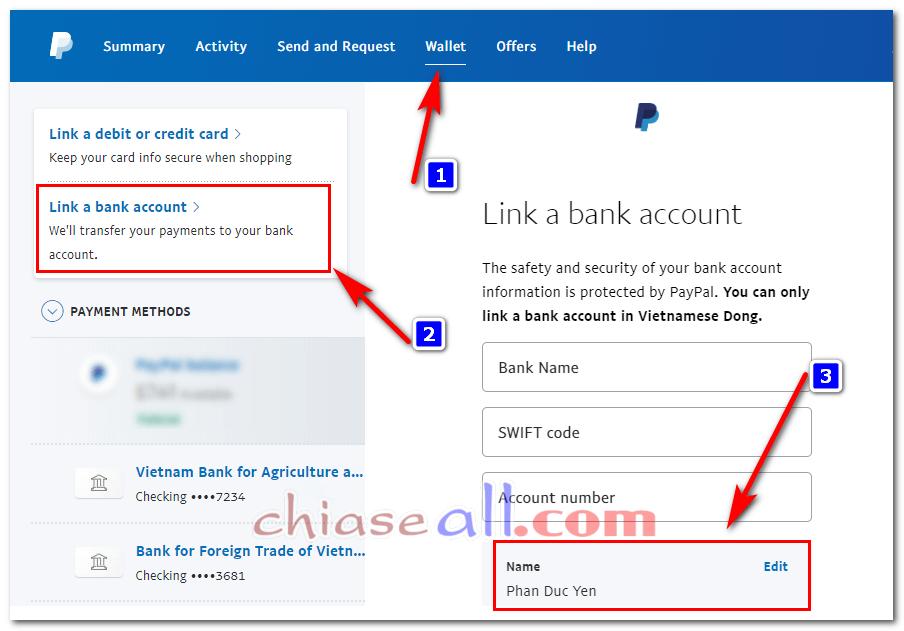 kiểm tra tên tài khoản paypal đúng hay sai