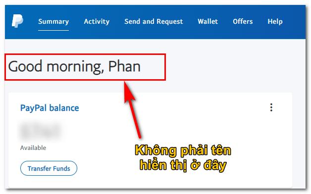 kiểm tra tên trên tài khoản paypal chính xác hay chưa