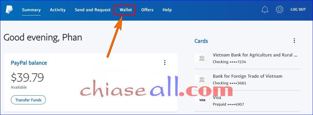 Thêm tài khoản Ngân hàng trên Paypal