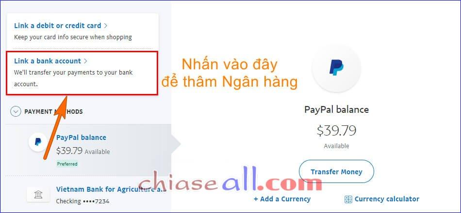 Chọn thên tài khoản Ngân hàng trên Paypal