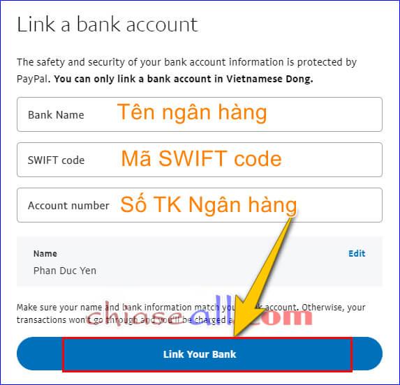 Thêm tài khoản Ngân hàng trên Paypal chính xác