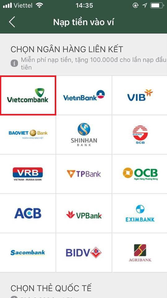 liên kết momo với tài khoản vietcombank