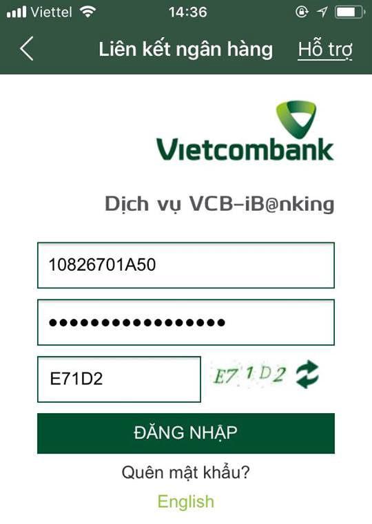 liên kết tài khoản MoMo với ngân hàng vietcombank