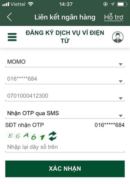 cách liên kết momo với vietcombank