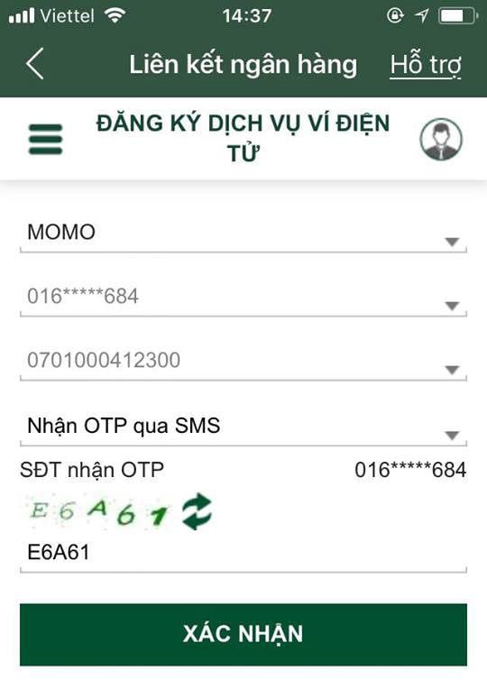 đăng ký momo vietcombank