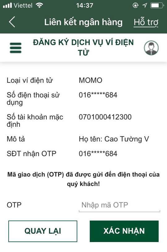 liên kết momo với ngân hàng vietcombank