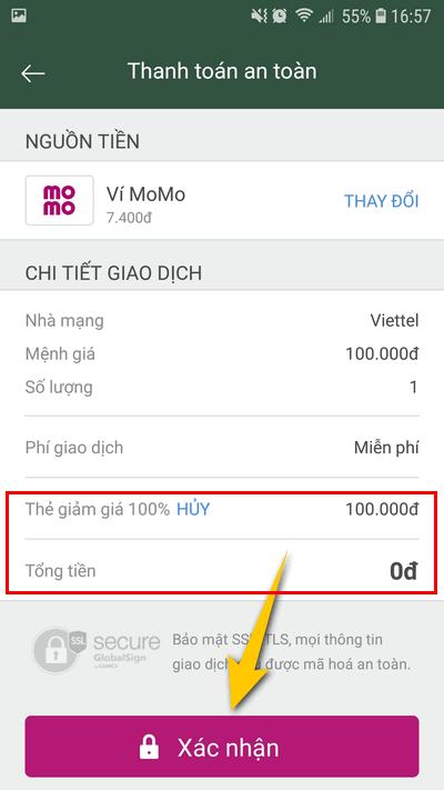 nộp card điện thoại 100k miễn phí từ MoMo 3
