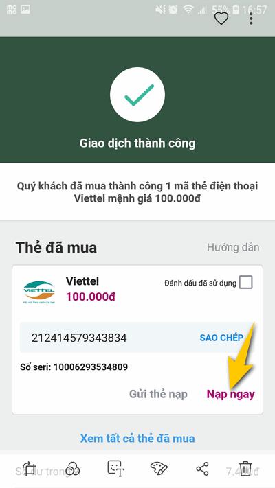 nộp card điện thoại 100k miễn phí từ MoMo 4