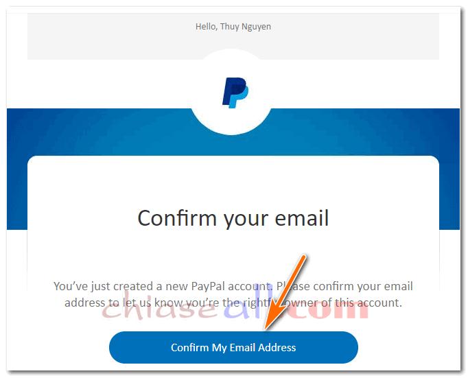 xác nhận email đăng ký paypal