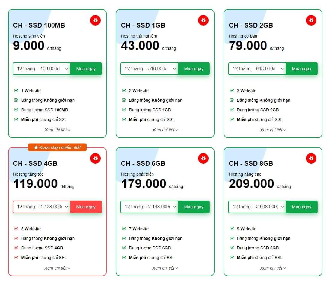 bảng giá dịch vụ hosting tinohost
