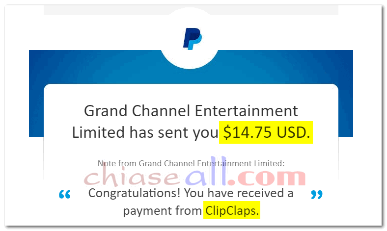 clipclaps thanh toán tiền về paypal