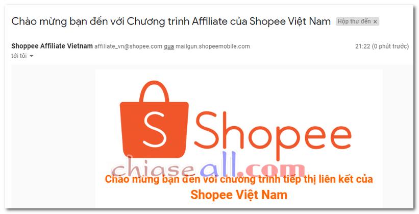email chào mừng đến với shopee affiliate