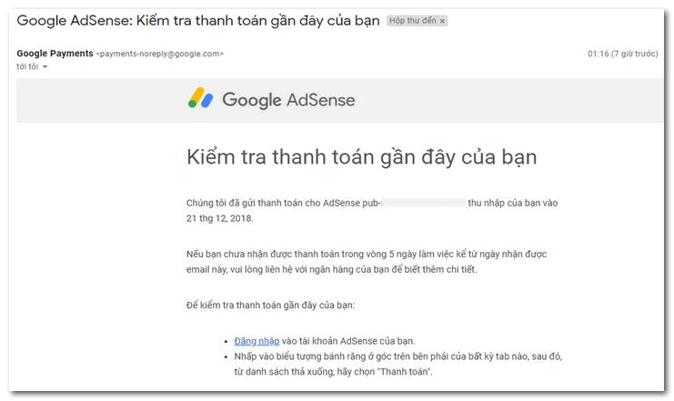 hướng dẫn nhận tiền google adsense qua ngân hàng