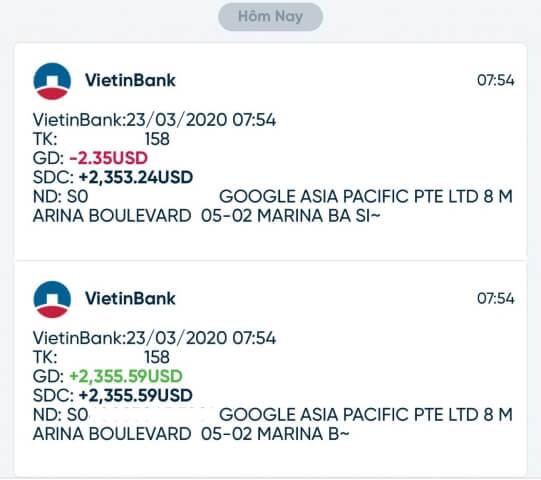 nhận tiền google adsense qua ngân hàng vietinbank