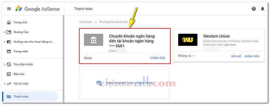 thêm phương thức chuyển khoản ngân hàng google adsense