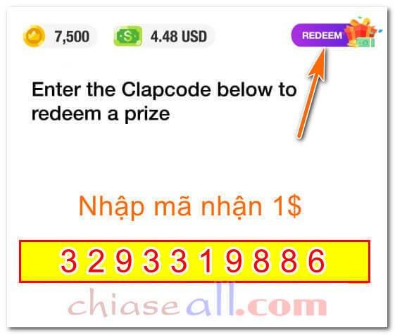 nhập mã nhận 1 dolar clipclaps