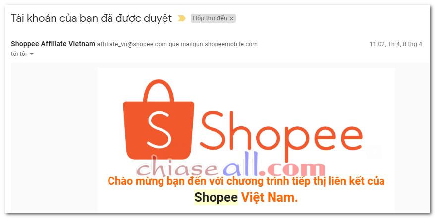 thông báo được duyệt chương trình shopee affiliate