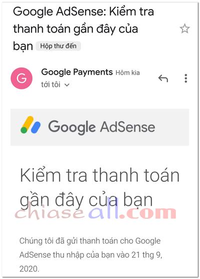 nhận tiền google adsense qua ngân hàng