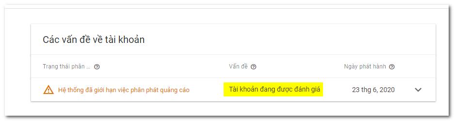 vấn đề giới hạn quảng cáo google adsense do tài khoản