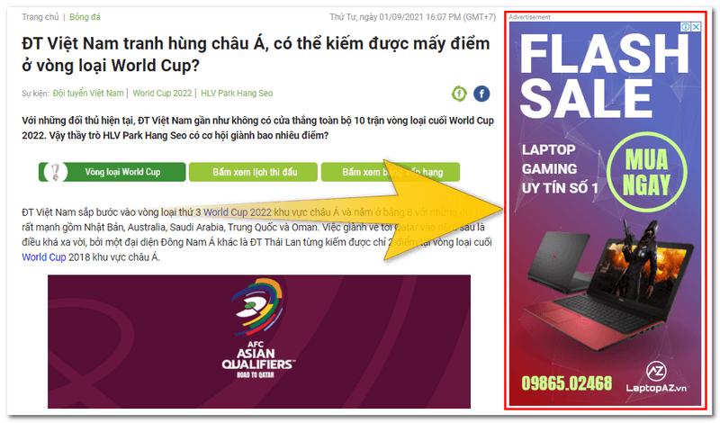 Trang web đặt quảng cáo google adsense