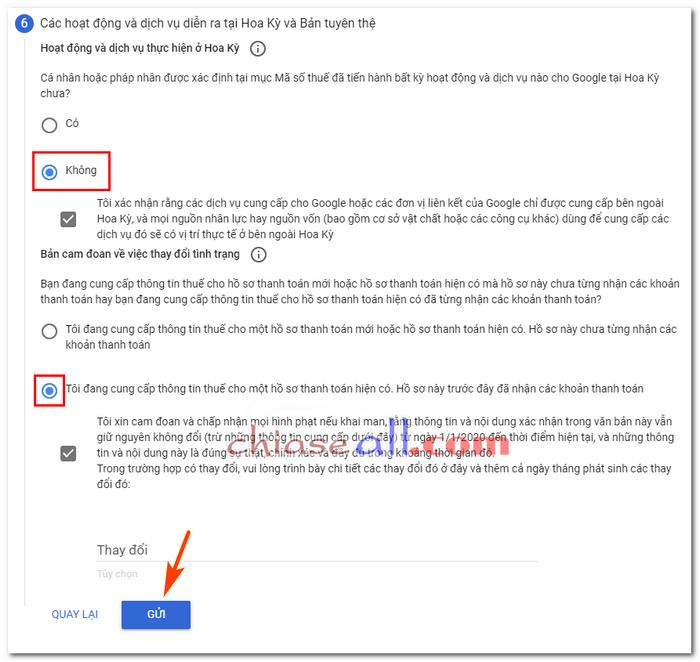 khai báo thuế google adsense