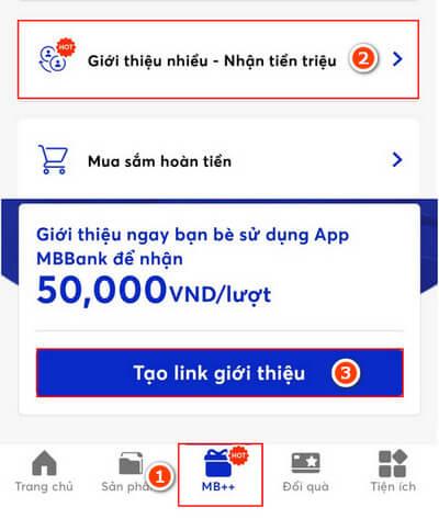 MB Bank giới thiệu nhiều nhận tiền triệu