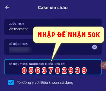 mã giới thiệu cake nhận 50k