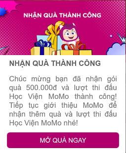 Thông báo nhận phần quà 500k từ MoMo
