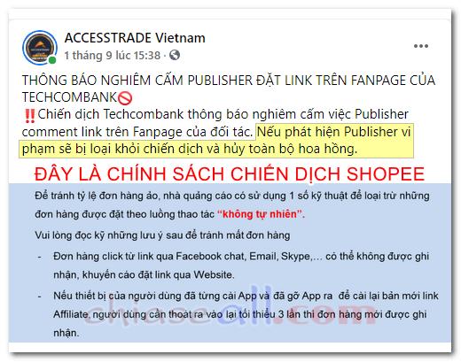 chính sách chống spam link trên accesstrade