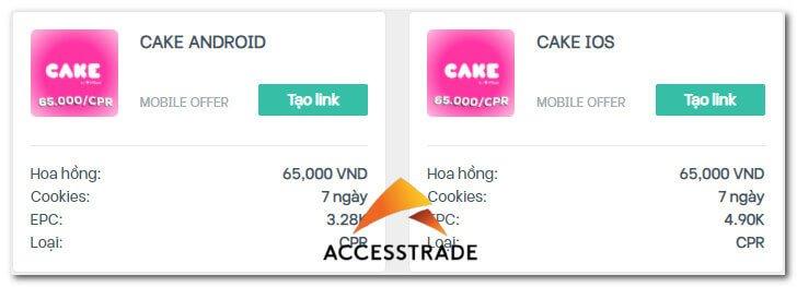 kiếm tiền cake by vpbank trên accesstrade