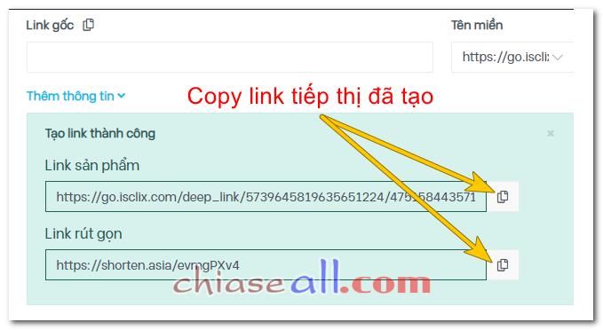 link tiếp thị liên kết shopee đã tạo trên Accesstrade