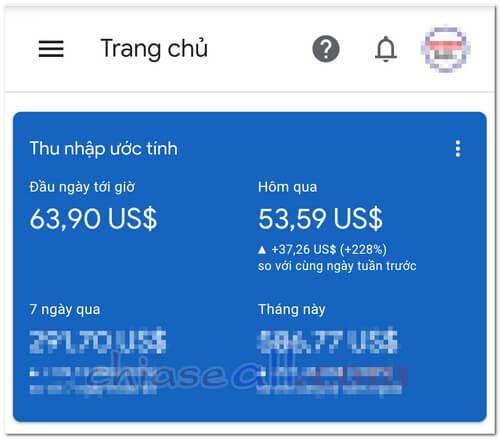 thu nhập google adsense adsense